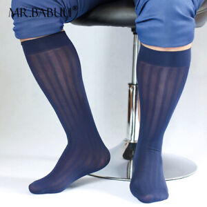 Hot New 3Pairs Pack Men's Sexy Knee High Long Wide Striped Casual Sheer Socks