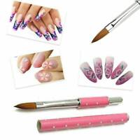 2PCS Acrylic Nail Brush Nail Art Kolinsky Sable Hair Metal Handle Tool 2 Sizes