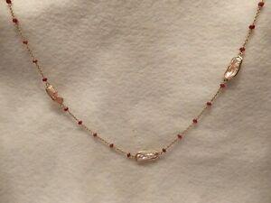 Ruby Bead and Keshi Shell Chain
