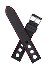 Tissot 19mm Black Leather w/ Red Stitching Men's Size Watch Band T600020323