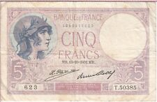 FRANCE BANKNOTE P72-T.50385 5 FRANCS MR.13=10=1932 SCARCE, F-VF