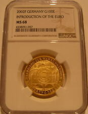 Germany 2002F Gold 1/2 oz 100 Euro NGC MS-68 Introduction of The Euro