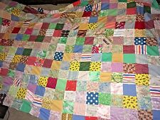 vintage extra large hand pieced quilt top poly-cotton fabric approx 172 squares