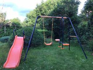 kids garden swing and slide set
