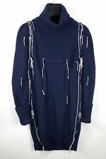 MAISON MARTIN MARGIELA BLUE OVERSIZE DARTED TURTLENECK JUMPER SWEATER DRESS M