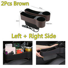 PU Leather Car Seat Slit Organizer Pocket 2 USB Cup Holder Left & Right 2X Brown