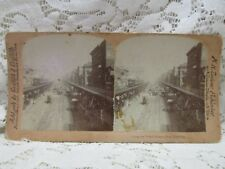 """Antique Vintage Griffith & Griffith Stereo View Card - """"Bowrey, New York City"""""""