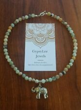 AMAZONITE Choker Elephant Bali Beach Bikini Necklace Travel Tribal Indo Mandala