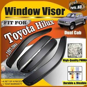 4x Premium Weather Shields Window Visors for Toyota Hilux 1997-2004 Dual Cab