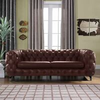 Modern Club Frame Sofa Real Leather Match Tufted Chesterfield Couch, Brown