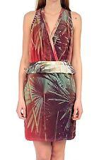 Geblümte Damenkleider mit V-Ausschnitt aus Baumwollmischung