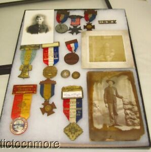 US SPAN AM SOLDIERS CABINET CARD PHOTOS MEDALS ENCAMPMENT RIBBONS USWV GROUP