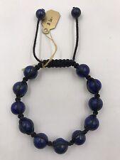 """Shamballa Beaded  Adjustable Bracelet Lapis 7"""" - 8.5"""" inches Long"""