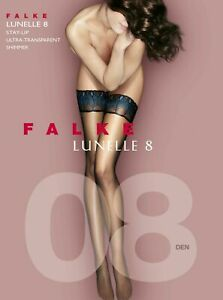 FALKE LUNELLE; 8 Den Stay-Ups - 8 1/2 - 9 Transparent Black - 41534 - New w/tags