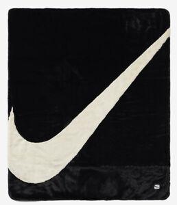 New Nike Sportswear Plush Faux Fur Blanket CZ4549-010 Black Fossil Off White