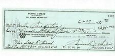 Sam Snead Professional PGA Golfer Autographed 1991 Bank Check PSA Letter