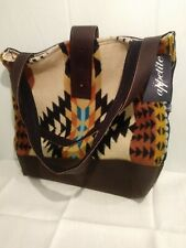 Appetit Leather And Pendelton Wool Tote