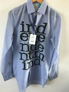 """Paul Smith Gents Casual Printed Shirt in Blue Sizes 15"""" -17.5"""" - RRP £435"""