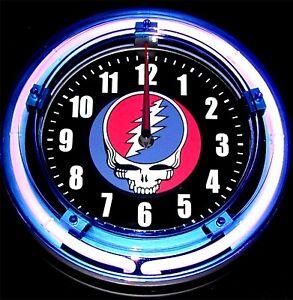 "GRATEFUL DEAD - STEAL YOUR FACE LOGO - 11"" Blue Neon Wall Clock"