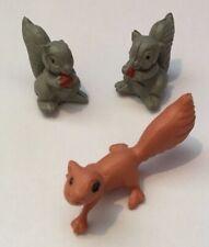 Vintage Miniature Plastic Squirrels Set Of 2 + Hong Kong x1 Farm Animals Minis
