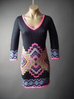 Tapestry Pattern Slim Fitted Stretch Bodycon V-Neck Sweater 296 mvp Dress S M L