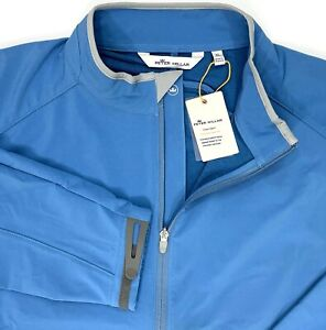 Peter Millar Crown Sport Full Zip Zephyr Performance Jacket Blue Mens L, XL