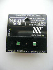 Sterling Silver Small Square Malachite Green Stone Stud Earrings New Old Stock
