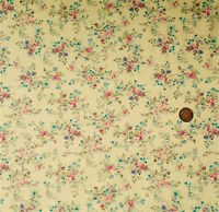 CREAM WITH A VINTAGE FLORAL DESIGN IN PINK & BLUE - 100% COTTON FABRIC FQ'S