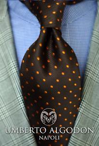 Umberto Algodon Napoli Sette Men's Tie Dark Green Citrus Gold Dot Woven Necktie