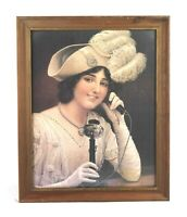 Vintage Lithograph Print Victorian Lady Woman on Candlestick Phone Framed
