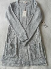 Fat Face Alana Blue Marl Medium Weight Cable Knit Side Vent Tunic Jumper 8 10 14