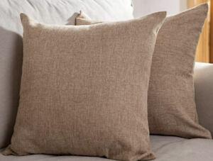 Decorative Farmhouse Linen Pillow Cover Cases Extra Large 22x22 Dark Beige