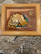1992 SIGNED ROGER & MARIE KULL 3-D Painted Leather & Turquoise Stone Framed Art