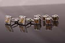 SET Cufflinks and Studs - silver colour openwork metal, decorated with amber
