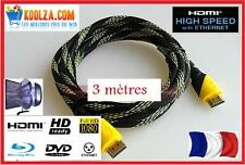 CABLE HDMI GOLD OR  3m  1920x1080p HDTV Blu-Ray PS3 X FULL HD 3D 1.4 ETHERNET