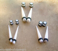 Ear Tapers & Plugs Stretching Kit Set 3 Sizes 2g 0g 00g White