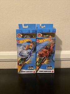 Hot Wheels Shark Launcher and Dino Launcher Track Pieces and Car