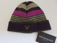 Lyle & Scott beanie hat girls age 6-10 yrs pink purple beige green stripes NEW