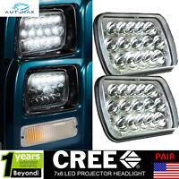 "H6054 7x6"" Sealed Beam Headlights Clear Crystal Housing H4 LED Bulb Lights 6000K"
