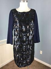 BODEN Embellished Sheath Dress cocktail S 6 Wool Silk 3/4 sleeve Anthropologie