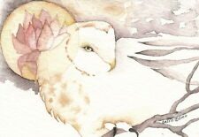 GREETING CARD spiritual art watercolor spirit totem barn owl 'PEACEFUL WISDOM'