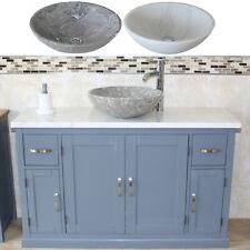 Bathroom Single Vanity Unit Grey Painted Cabinet White Marble Marble Basin 402