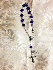 NEW ST. MICHAEL AUTO ROSARY, Blue Beads & St. Michael Center, Nice Claw Clasp!