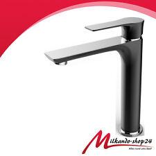 Hoch Waschtischarmatur Bad Armatur einhebelmischer Wasserhahn Schwarz  Chrom