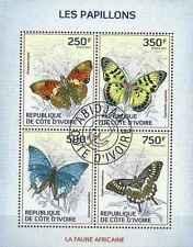 Timbres Papillons Cote d'Ivoire 1278/81 o année 2014 lot 14582