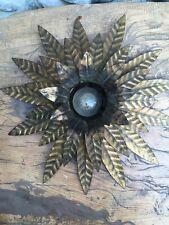 Très Belle Lampe Suspension Bronze Feuille  Doré Style Jansen T Belle Patine 50s