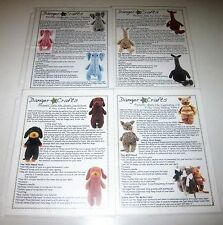 LOT of 4 DANGER CRAFTS Knitting Patterns DACHSHUND KITTY ELEPHANT ALPACA TOYS