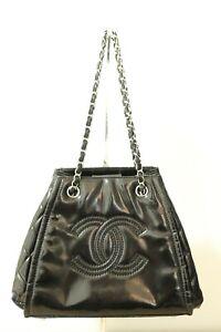 Authentic CHANEL CC Chain Shoulder Bag Black Patent Leather #8042
