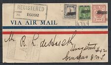 Canal Zone covers 1929 uprated R-1st Flightcover to Curacao