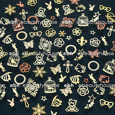 200 Pcs 3D Metal DIY Nail Art Tips Stickers Decal Golden Slices Decoration EG202